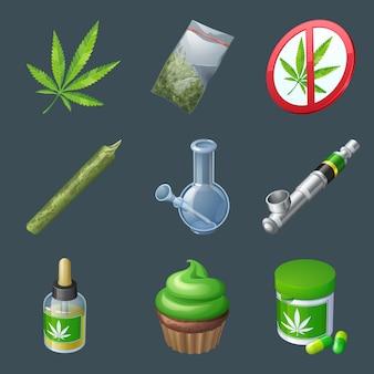 Set van pictogrammen voor cannabisproductie en apparatuur