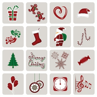 Set van pictogrammen voor nieuwjaar en kerstmis