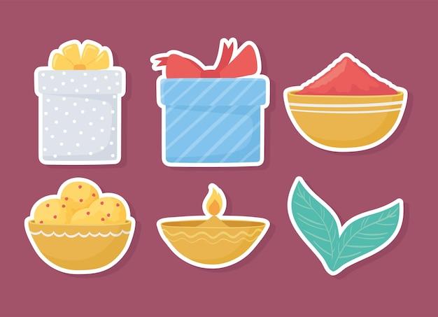 Set van pictogramvoedsel en geschenken