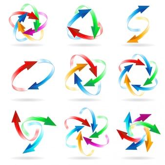 Set van pijl cirkels