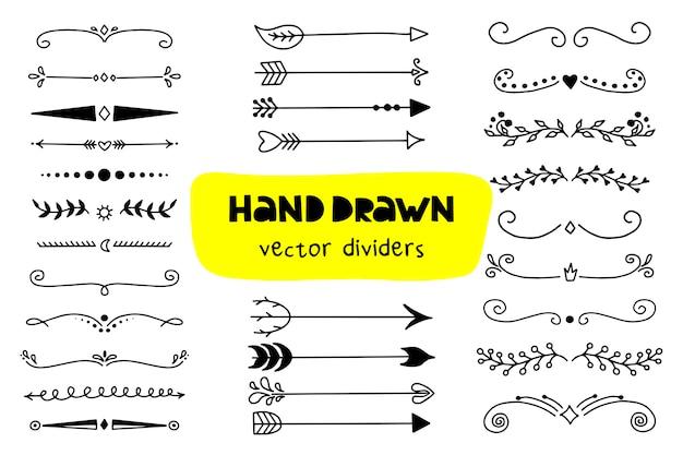 Set van pijlen pictogram en scheidingslijnen