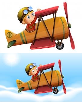 Set van piloot klassiek vliegtuig rijden