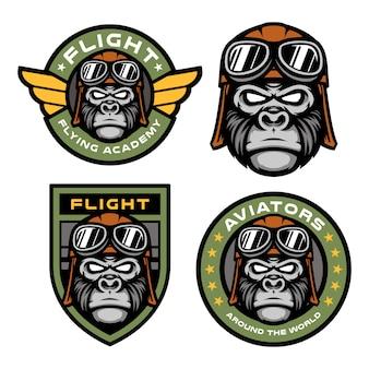 Set van pilot gorilla mascotte logo