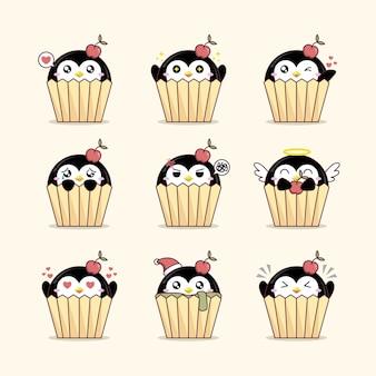 Set van pinguïns in cupcakes cartoon afbeelding op lichtgele achtergrond