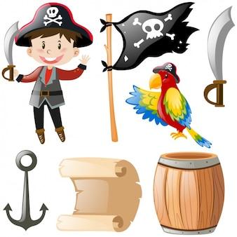 Set van piraat objecten