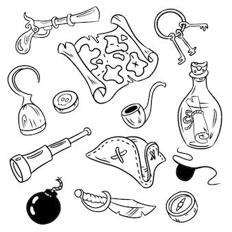 Set van piraten doodles