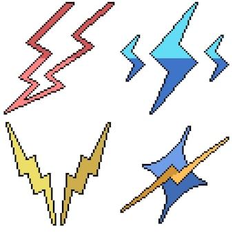 Set van pixel art geïsoleerd bliksem symbool