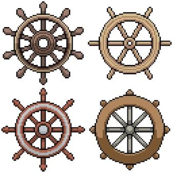Set van pixel art geïsoleerd stuurwiel