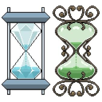 Set van pixel art geïsoleerd zandloper ontwerp