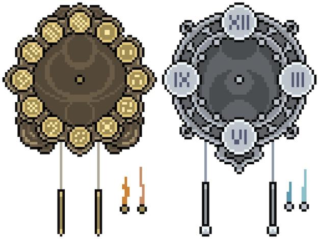 Set van pixel art geïsoleerde fantasie klok