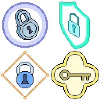Set van pixel art geïsoleerde sleutelvergrendeling