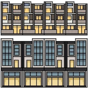 Set van pixel art geïsoleerde stad thuislus