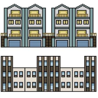 Set van pixel art geïsoleerde stadshuis lus