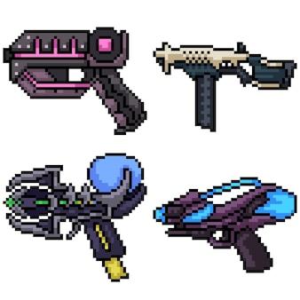 Set van pixel art sci fi pistool geïsoleerd op wit