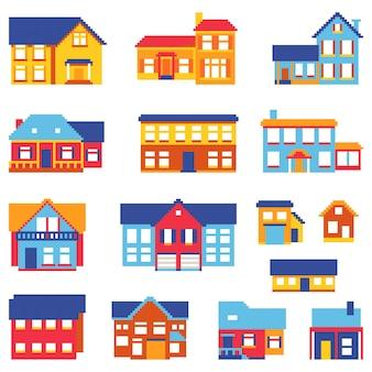 Set van pixel huizen geïsoleerd op een witte achtergrond. grafisch voor games. 8 bits. vectorillustratie in pixel kunststijl.