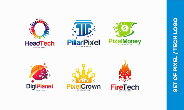 Set van pixel tech logo ontwerpen concept, head tech logo, kleurrijke head mind, pixel pillar, pixel money, digital money, digital planet, pixel crown, fire tech logo template vector