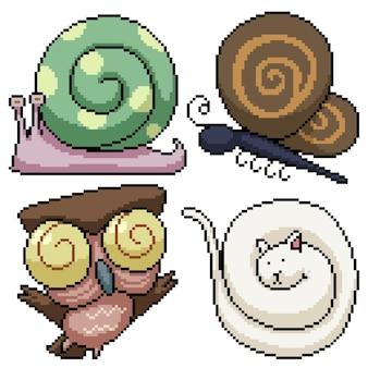 Set van pixelart geïsoleerd dier met curling deel