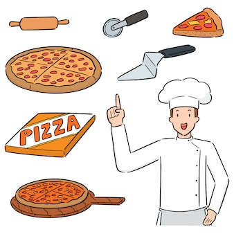 Set van pizza en pizza chef-kok