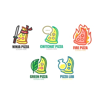 Set van pizza-logo