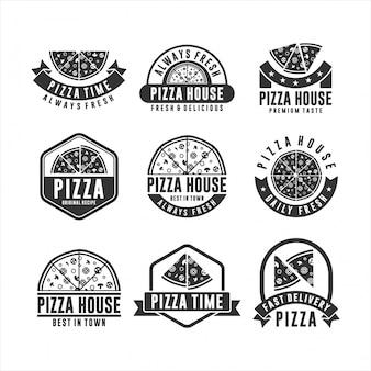Set van pizza-logo