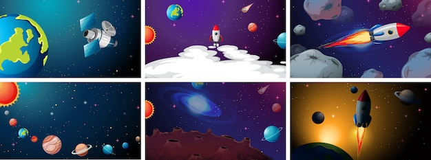 Set van planeet en schip scènes achtergrond instellen