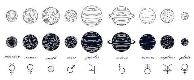 Set van planeten illustratie