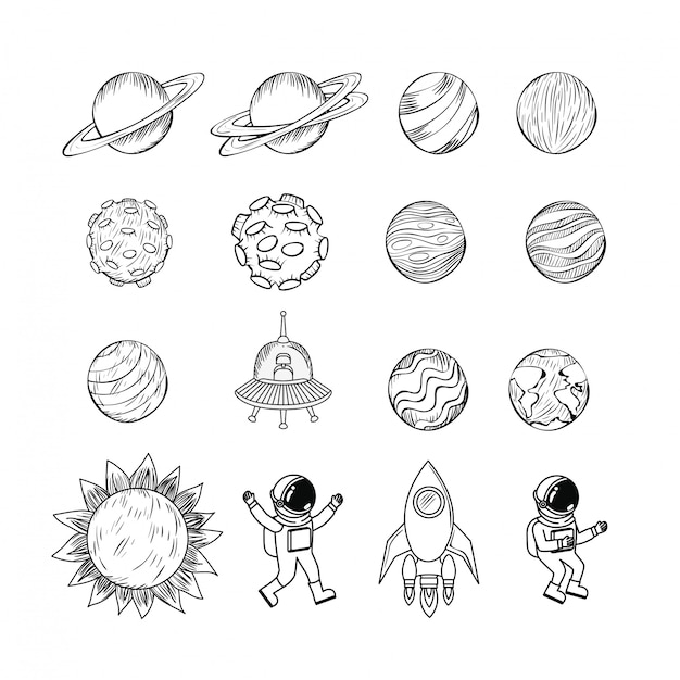 Set van planeten pictogram