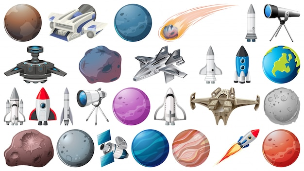 Set van planeten, raketten en ruimtebehoeften