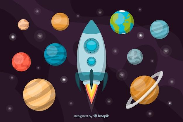 Set van planeten vlakke stijl