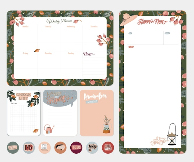 Set van planners en takenlijsten met scandinavische lente-bloemenillustraties en trendy letters. sjabloon voor agenda, planners, checklists en ander briefpapier. geïsoleerd. achtergrond