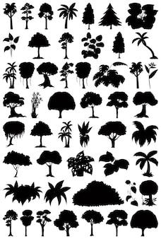 Set van plant en boom silhouet