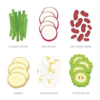 Set van plantaardige plakjes. biologische en gezonde voeding geïsoleerde element illustratie.