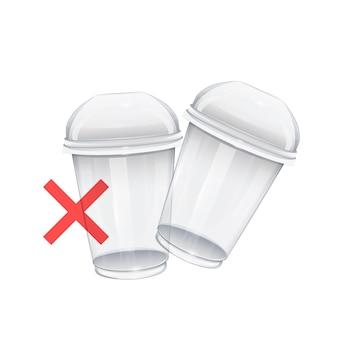 Set van plastic bekers op wit symbool van stop plastic beker stop plastic afvalverontreiniging