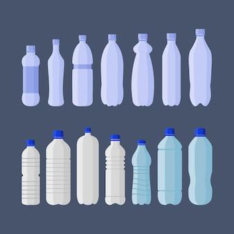 Set van plastic flessen frisdrank en water