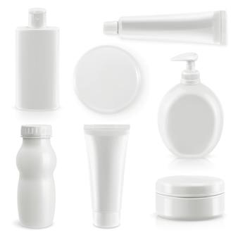 Set van plastic verpakkingen, cosmetica en hygiëne