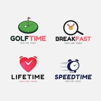 Set van plat ontwerp horloge-logo
