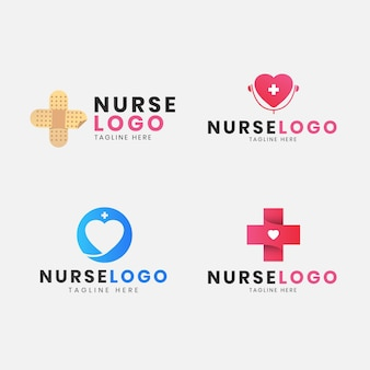 Set van plat ontwerp verpleegster logo