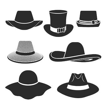 Set van plat pictogrammen met klassieke hoeden