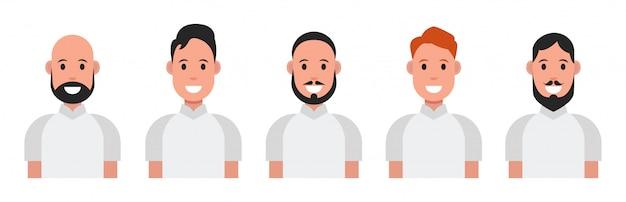 Set van plat pictogrammen met mannen.