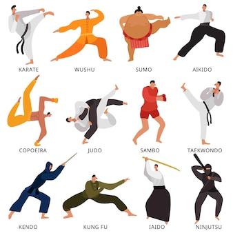Set van plat pictogrammen vechters van verschillende vechtsporten