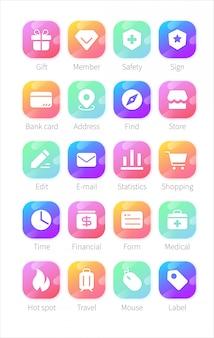 Set van plat pictogrammen voor zakelijke en sociale media marketing