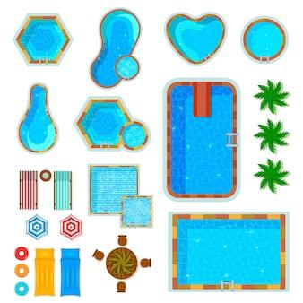 Set van plat pictogrammen zwembaden bovenaanzicht met palmbomen ligstoelen luchtbedden geïsoleerd