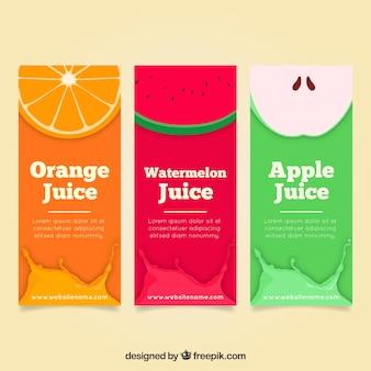 Set van platte banners met drie verschillende vruchten