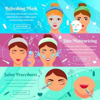 Set van platte banners voor procedures van schoonheid