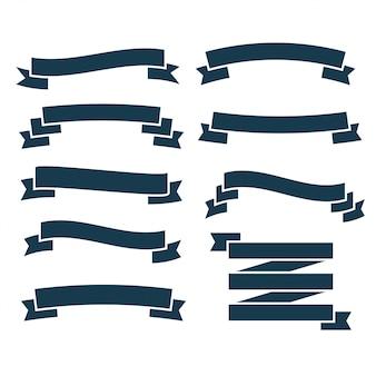 Set van platte blauwe linten