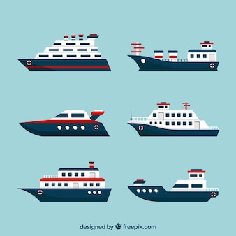 Set van platte boten met rode elementen