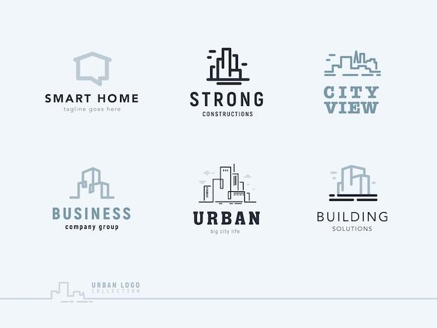 Set van platte bouwbedrijf merkontwerp