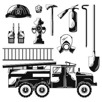 Set van platte brandweerman elementen