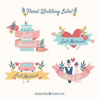 Set van platte bruiloft badges