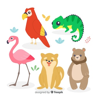 Set van platte cartoon dieren